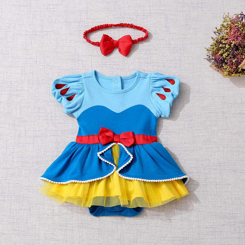 Newborn Baby Romper Cartoon Baby Clothes Mermaid Snow White Baby Girl Romper Jumpsuit 1st Birthday Princess Baby Costume Clothes