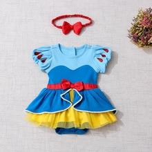 Noworodek Romper ubrania dla dzieci inspirowane kreskówkami syrenka śnieżka śpioszki dziewczęce kombinezon 1 urodziny księżniczka kostium dla dzieci ubrania