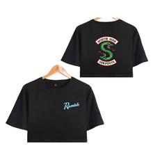 BTS Riverdale south side serpents 2018 Summer Funny  Bare Midriff Top Women T-shirts Sexy Short Sleeve Riverdale Crop top 4xl sexy midriff baring tops