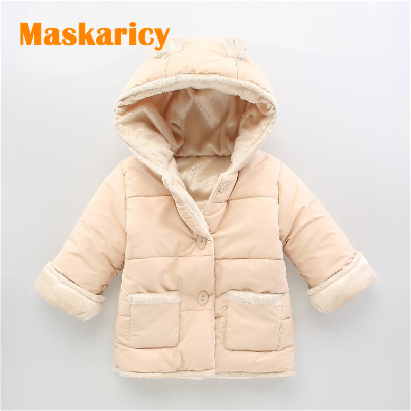 Baby Winter Cotton Coat Baby Girl Candy Cute Thick Down <font><b>Boy</b></font> Outerwear Snow Wear Fabric Waterproof Handle Infant Hooded Clothing