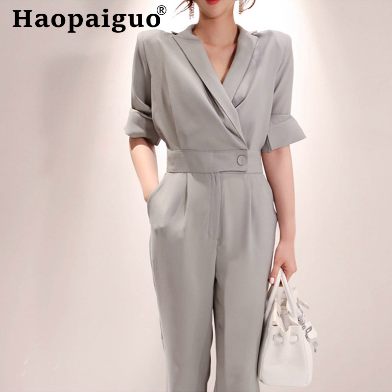 2019 Summer Female Puls Size OL Office Work Elegant Casual Loose Jumpsuit Trousers Women Casual Long Pants Overalls in Gray