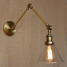 Lámpara de pared de vidrio de hierro envejecido de estilo industrial/Iluminación de pared de brazo oscilante para sala de trabajo/tocador de baño 2 se aplica Tornado de brazo