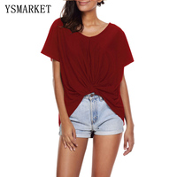 2017 Women Front Knot Wine Red Solid T Shirt Casual Shirt Short Sleeve O Neck TShirt