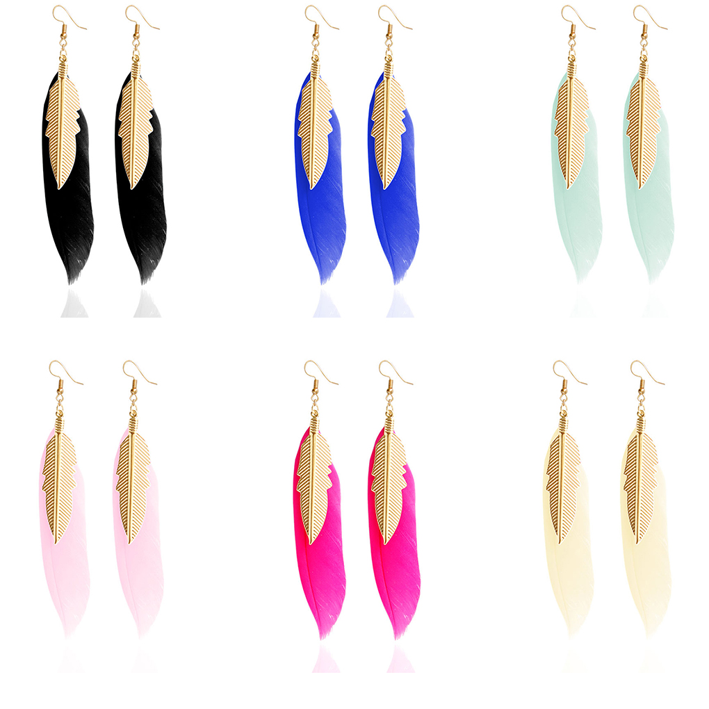 1ec627d5af Worldwide delivery earings women 2019 with feather in NaBaRa Online