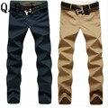 [Oferta especial] frete grátis! novo 2015 de alta qualidade Homens calça casual Coreano calças Retas 100% Calças de algodão/tamanho 28-44/9 cores