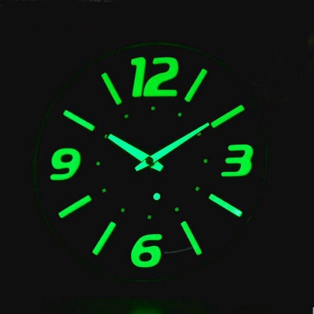 Glow In Dark 12 Inch Modern Wall Clocks Brief Style Silent