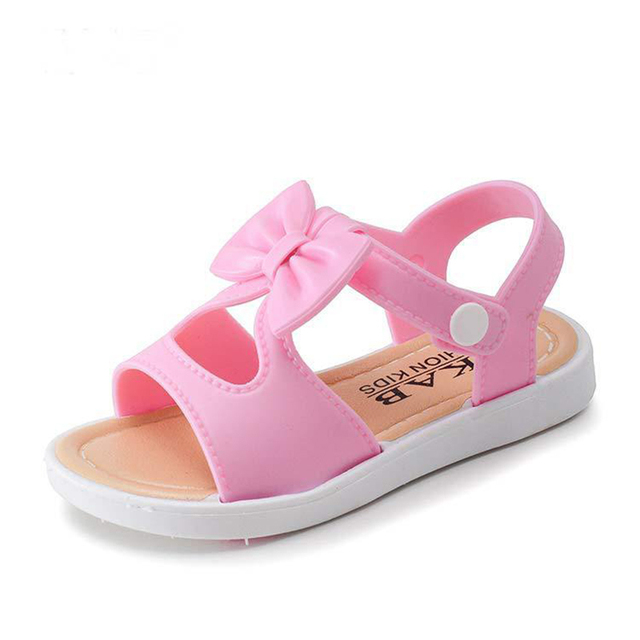 224fa540ced2 Bowtie Girls Shoes Children Sandals Pink Blue Baby Shoes Beach Sandals Kids  Toddler Girls Shoes sandalia feminina infantil kids