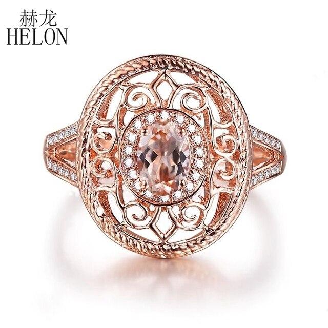 1291c4fcf6d HELON pierre précieuse ovale 6x4mm Morganite diamant naturel Antique  filigrane Halo bague Fine solide 10 K