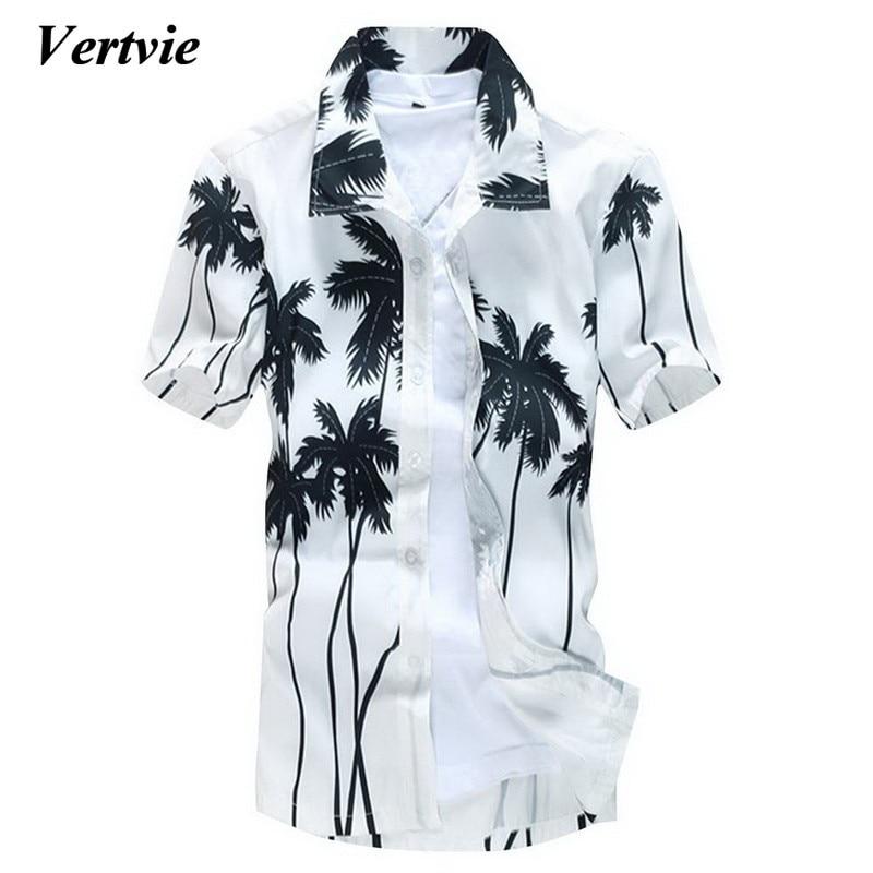 VERTVIE Brand New Hawaiian Tree Shirt Men Holiday Casual Shirt Male Beach Short Sleeve Summer Camisa Masculina Plus Size 5XL