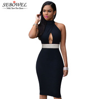 Bustier Waist Stitching Jeweled Black Red White Halter Sexy Dress Party Short Backless Sexy Bodycon Dress