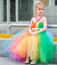 Детская одежда Девушки Слинг Платье без рукавов/Ручной пользовательские Конфеты цвета Сетки Марли Эльза костюм Принцесса Пачки платье