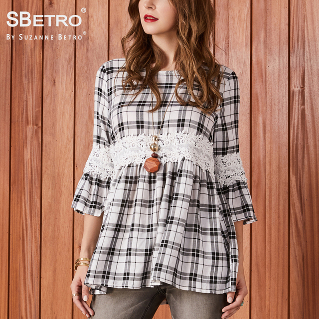 cc08ae86c SBetro by Suzanne Betro Casual Plaid Blouse Tops Crew neck Lace ...
