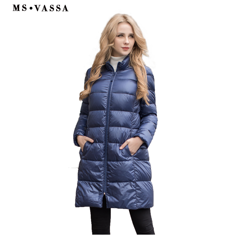 MS VASSA Ladies coat 2017 New Autumn Winter Women white goose down jacket stand up collar plus size 5XL 6XL long outerwear ladies consultation coat white size 14 1 each model 88018qhw14