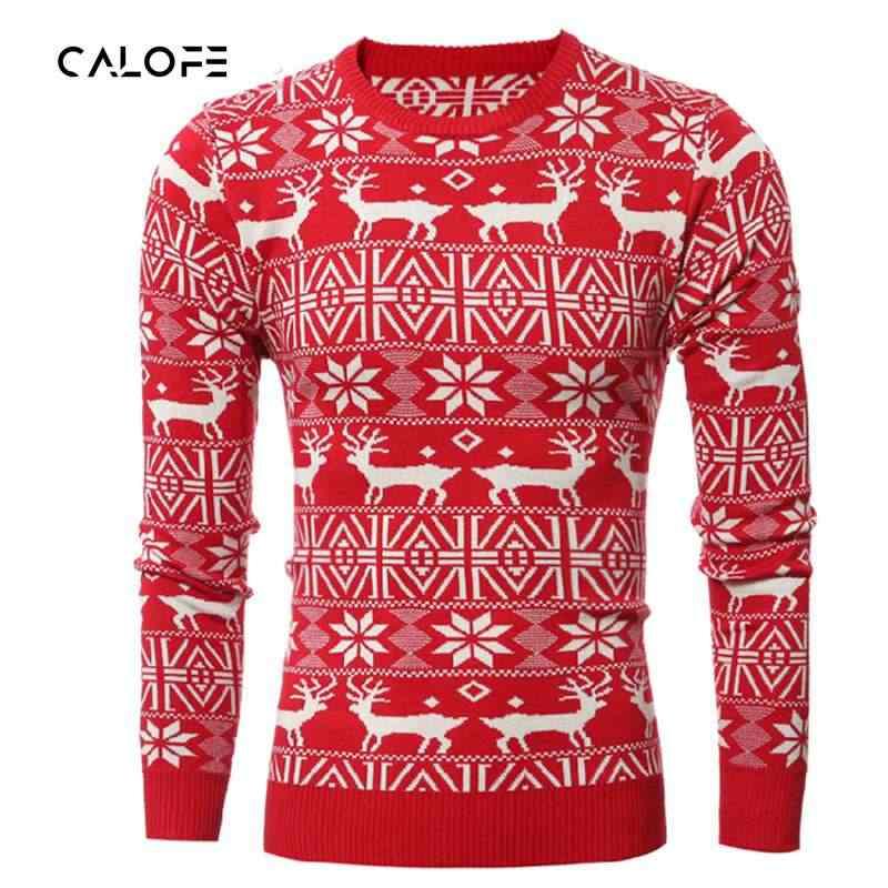 aed3f4fc11139 CALOFE 2019 осень-зима джемпер свитер пуловеры с оленями свитер с рисунком « олени»
