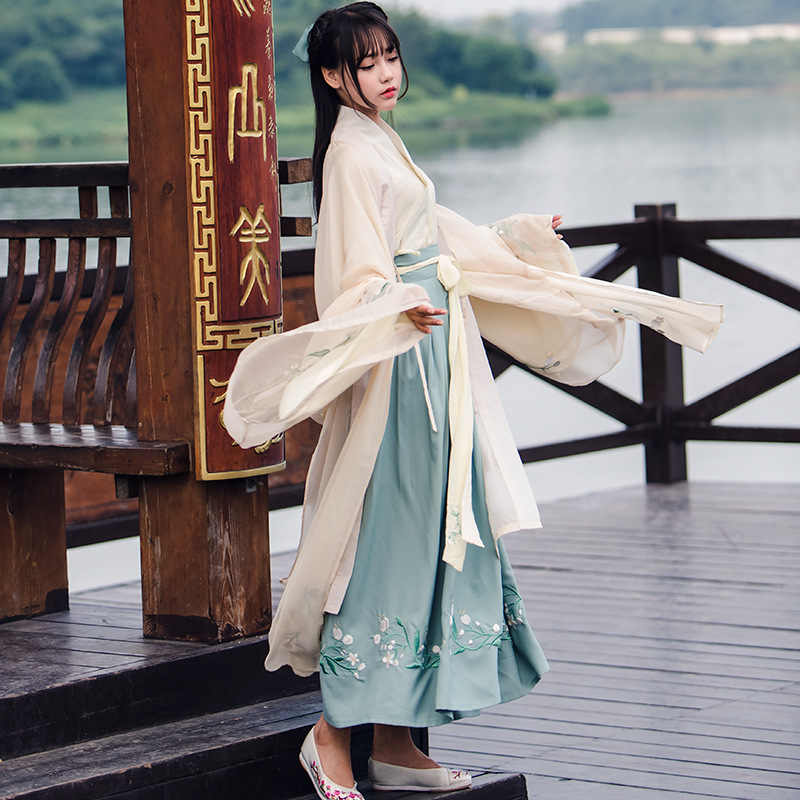 Китайский традиционный сказочный костюм древней династии Хань одежда принцессы национальный костюм ханьфу наряд платье для выступлений на сцене народный танцевальный костюм 90