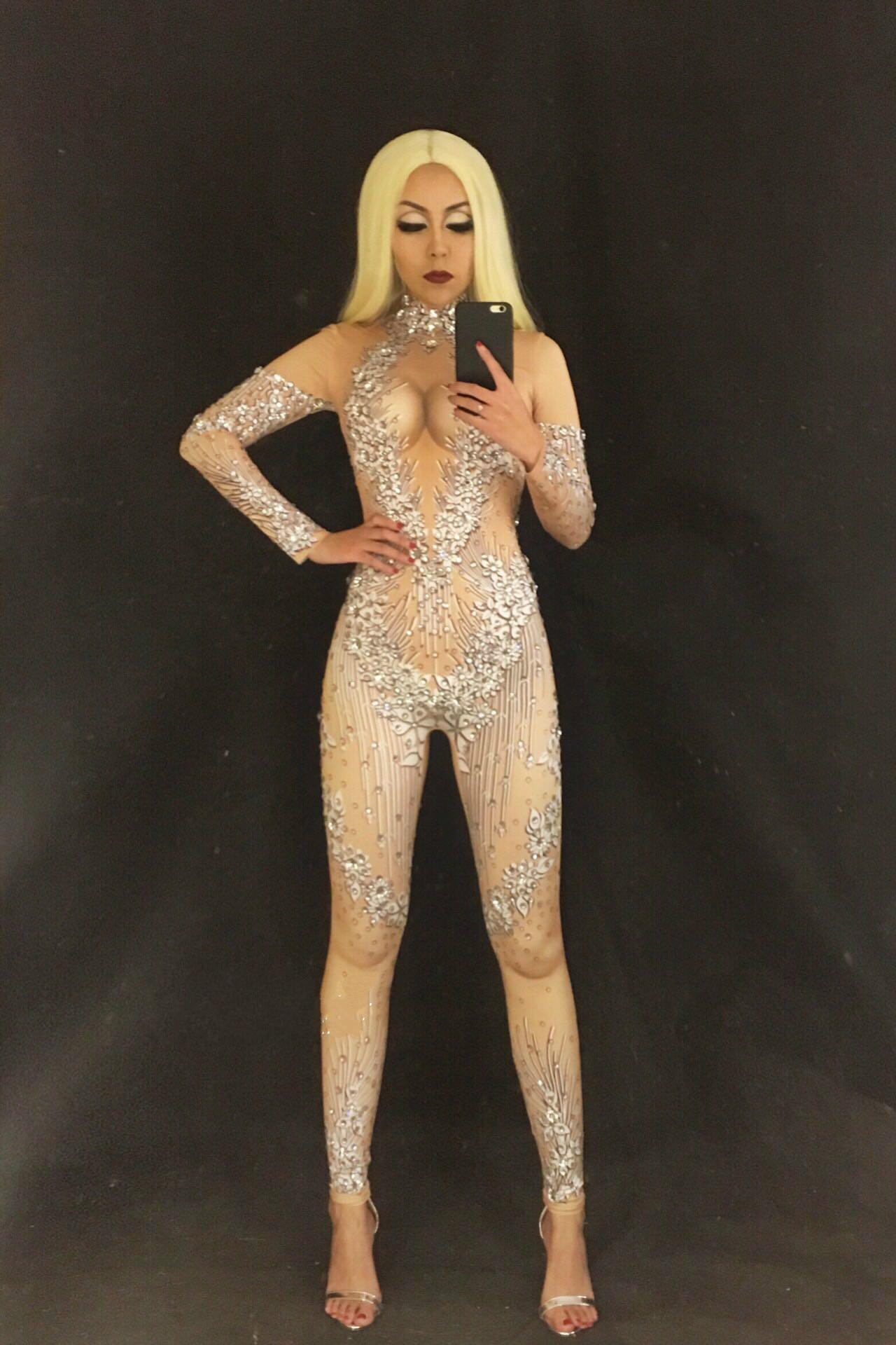 Scintillant Discothèque Célébrer Cristaux Stage Luxueux Performance Baalmar Photo Woemn De Salopette Outfit Costume Body Danse Color Parti Sexy gCqRnw5H