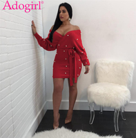 Adogirl Red Pearls Accent Off Shoulder Bodycon Dress Sexy V Neck Backless Long Sleeve Sashes Mini