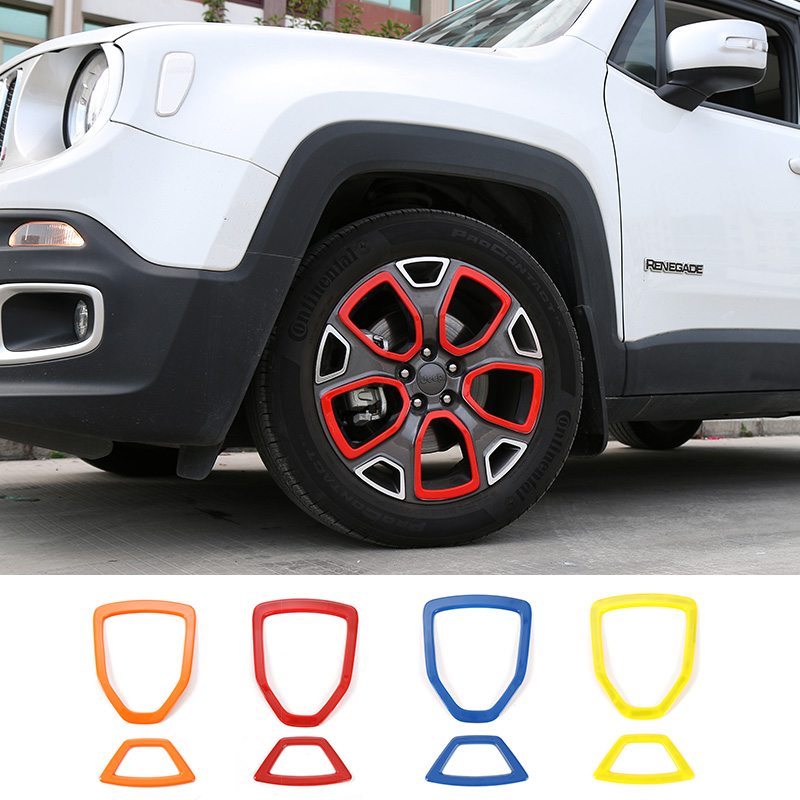 SHINEKA Car Exterior Tyre Wheel Hub Tire Decoration Cover Trim Frame Sticker Styling Accessories For 1.4T Jeep Renegade 2015+