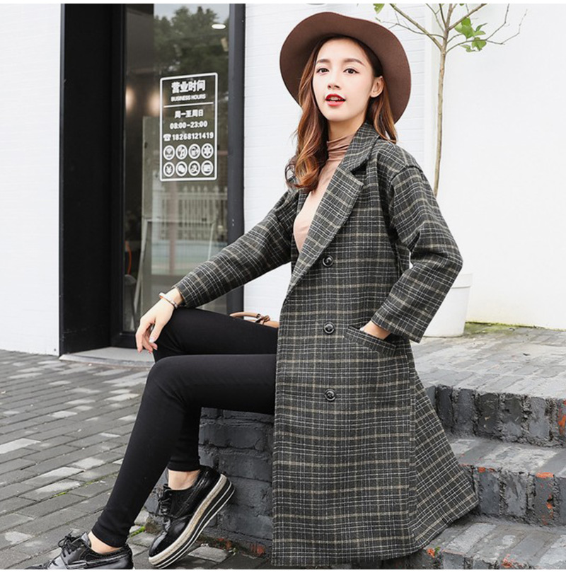 Winter Check Velvet Coat Female Notched Warm checkered Woolen Women's Coats Fleece Office Lady 19 Vintage Long Overcoat Woman 10