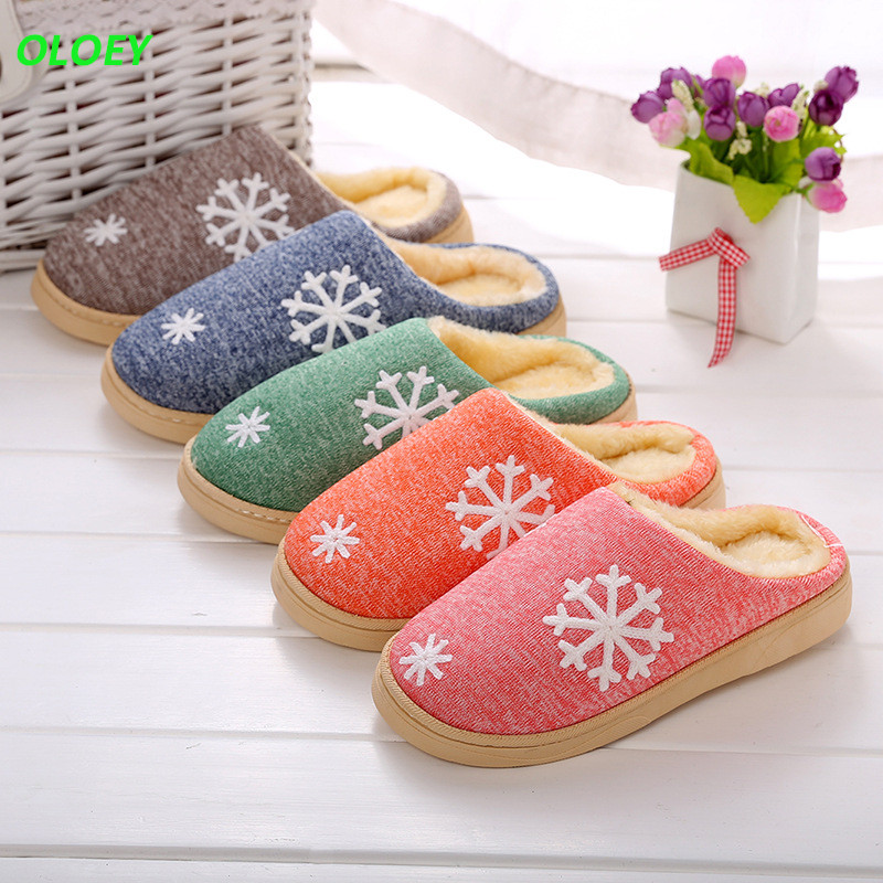 Women's home slippers winter warm cotton slippers home shoes non-slip soft couples cotton shoes thick bottom couple indoor Warm