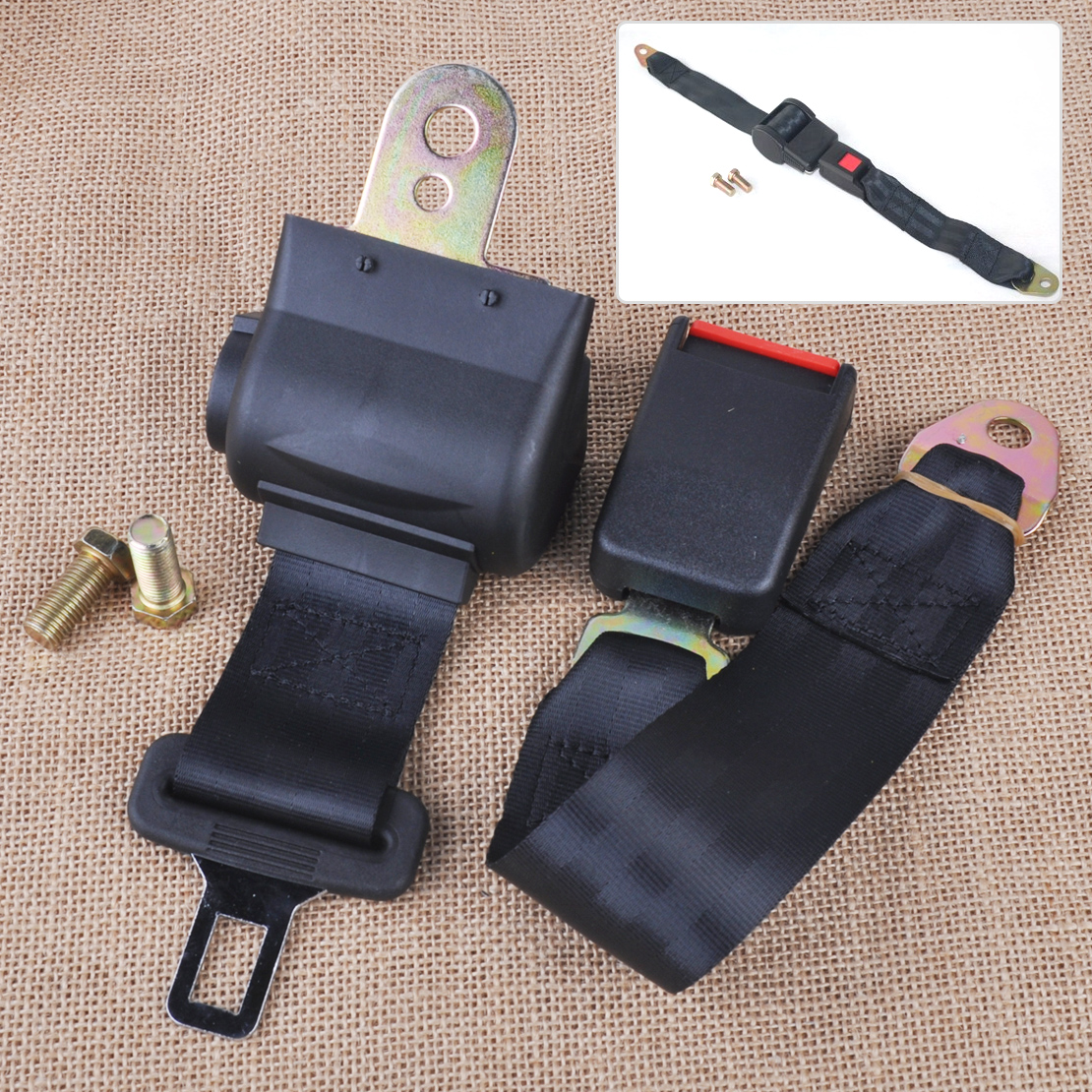 CITALL Universal Black 2 Point RetractableCar Auto Seat Safety Lap Belt Strap Buckle Adjustable Security Belt stylish crown universal stainless steel seat belt buckle latches pair