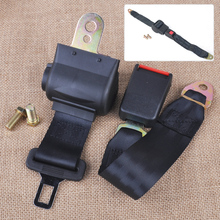 CITALL Universal Black 2 Point RetractableCar Auto Seat Safety Lap Belt Strap Buckle Adjustable Security Belt