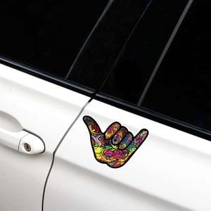 Image 4 - YJZT pegatina de PVC para coche, 12,7 CM x 8,9 CM, Shaka Hang, Graffiti suelto, pegatina reflectante, 12 0484