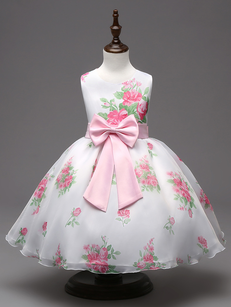 Фото Fashion Girls Party Dress Kids Elegant 2017 Sleeveless Bow Baby Child Princess Short Summer Artistic Rose Floral Print Clothing