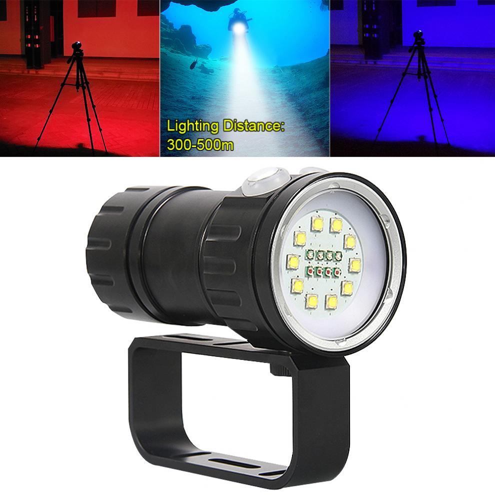 QH18 120W 12000Lumens Ten 5050 White XML2 + Four XPE Red R5 + Four XPE Blue R5 Durable Diving Flashlight