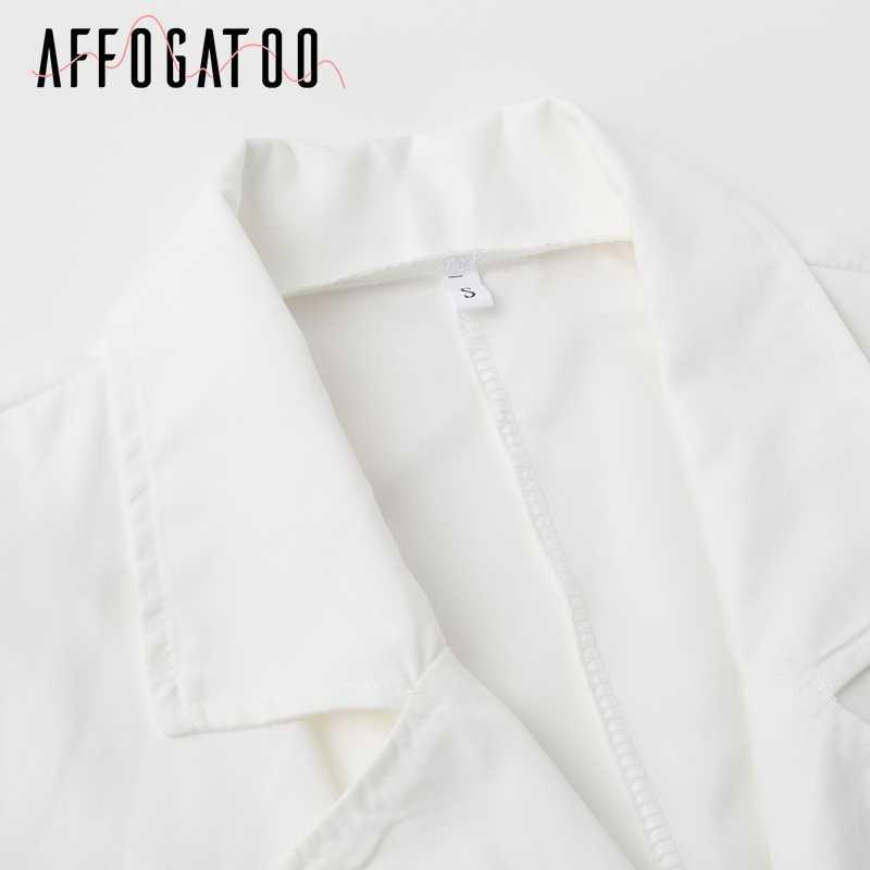Afogatoo сексуальный белый блейзер с поясом и двумя пуговицами, женское платье с глубоким v-образным вырезом, вечерние длинные тренчи, платье 2018, модное повседневное женское платье