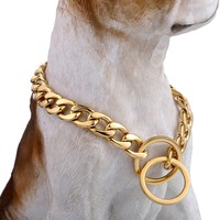 Puppy Training Choker Collar For Pet 13mm Gold 316L Stainless Steel Dog Chain Cut Cuban Heavy Link Dropshipping 26/28inch DDC11