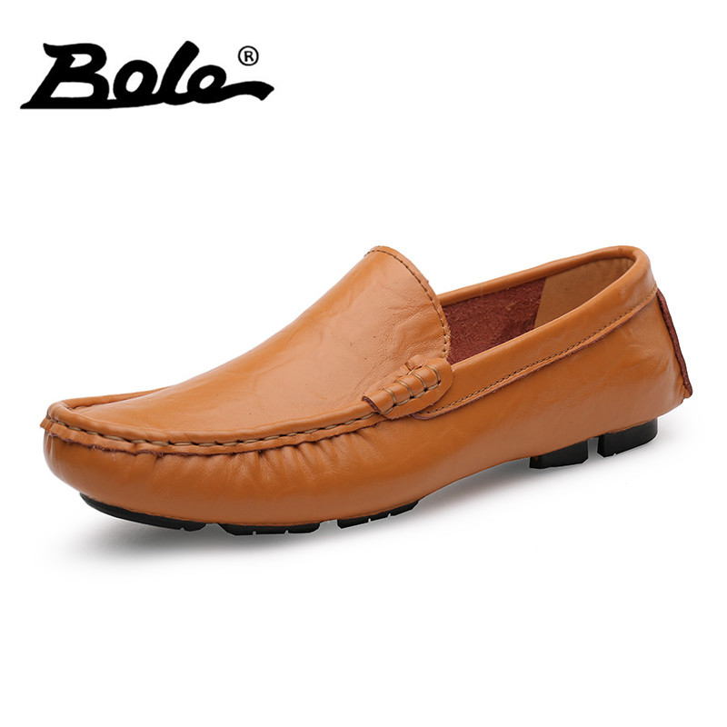 BOLE Large Size 35-50 Slip on Casual Men Loafers Fashion Brand Handmade Genuine Leather Men's Flats Shoes Soft Men Driving Shoes handmade genuine leather men s flats casual luxury brand men loafers comfortable soft driving shoes slip on leather moccasins