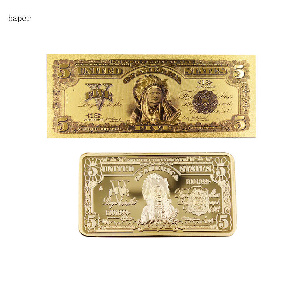 5 Dollar Bills Bank Note Gold Plated Fake Money Currency Gold Banknotes and  Collection Art Coin By Collection Free Shipping