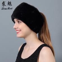 QiuMei Women Genuine Fur Hats Winter Knitted Hat Wider 2018 Newest Female Real Fur Beanies Warm Dual-use Scarves Hats