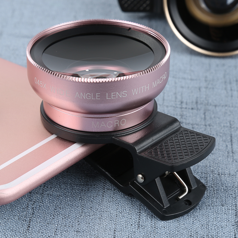 Mobile Phone  Lens Universal Ultra Premium 37mm 0.45X Macro Lens Wide Angle Clip External Selfie Lens Wide Angle Lenses