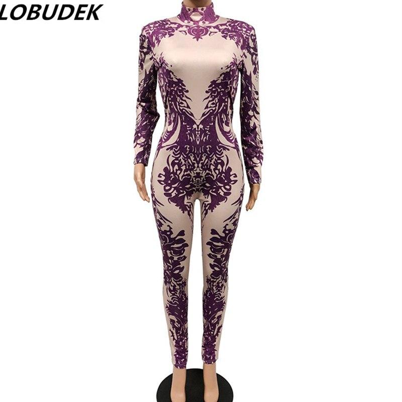 3D Purple Print Spandex Leotard Jumpsuit Women Skinny Jumpsuits Sexy Nightclub Party Singer Costume Bar Dancer DJ DS Stage Wears