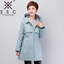 New Spring Autumn Hooded Trench Coat  Plus Size Slim Leisure Women Cotton Trench  Twill Cotton Adjustable Waist Female Coat 8092