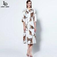 High Quality New Fashion 2016 Runway Mid Calf Dress Women S Half Sleeve Animal Print White