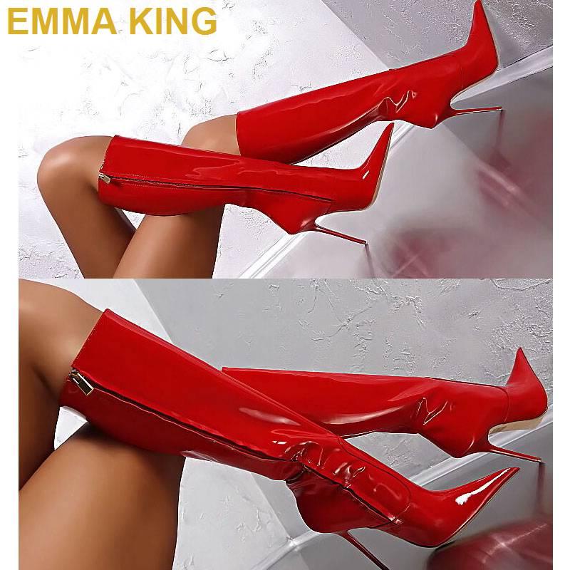 Negro Las En 2019 Altas Señoras Punta Rodilla De Mujeres Marrón Hasta Emma Rojo Alta Cuero La rojo Aguja King Zapatos Botas Tacones nTxEBI