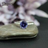Дюпюи классический Танзанит кольца Для женщин круглой огранки Обручение обручальные кольца 14 К розовое золото зубец Установка бриллиантам