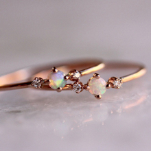 Dainty White Fire Opal Thin Ring Simple Zircon Rose Gold Color Stackable Wedding Rings For Women Minimalist Jewelry D30