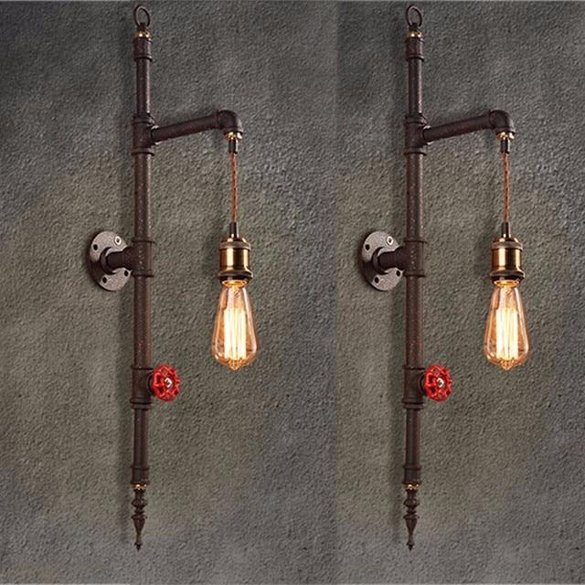 Vintage Ijzeren Pijp Wandlamp 220 V Luxe Industriële Badkamer Muur ...