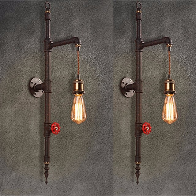 Vintage Iron Pipe Wall Lamp 220V Luxury Industrial Bathroom Wall ...