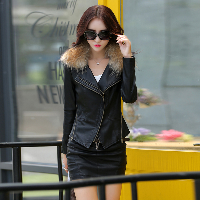 leather jacket women slim Really large raccoon fur collar jacket short casual design motorcycle jacket plus size m-5XL 905