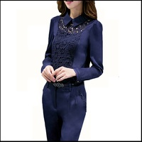 Women Lace Pants Suits Two Piece Set Women Lace Hollow Out Tops And Pencil Pants Ladies Elegant Casual Slim Pant Sets