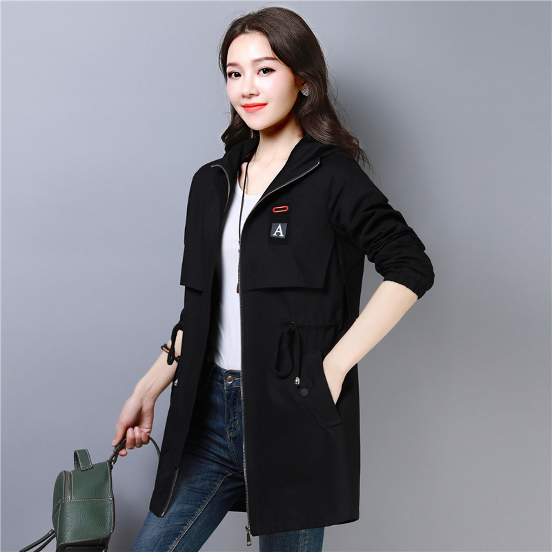 Trench Coat for Women 2019 Casual Hooded Women Cotton Zipper Overcoat Plus Size 3XL