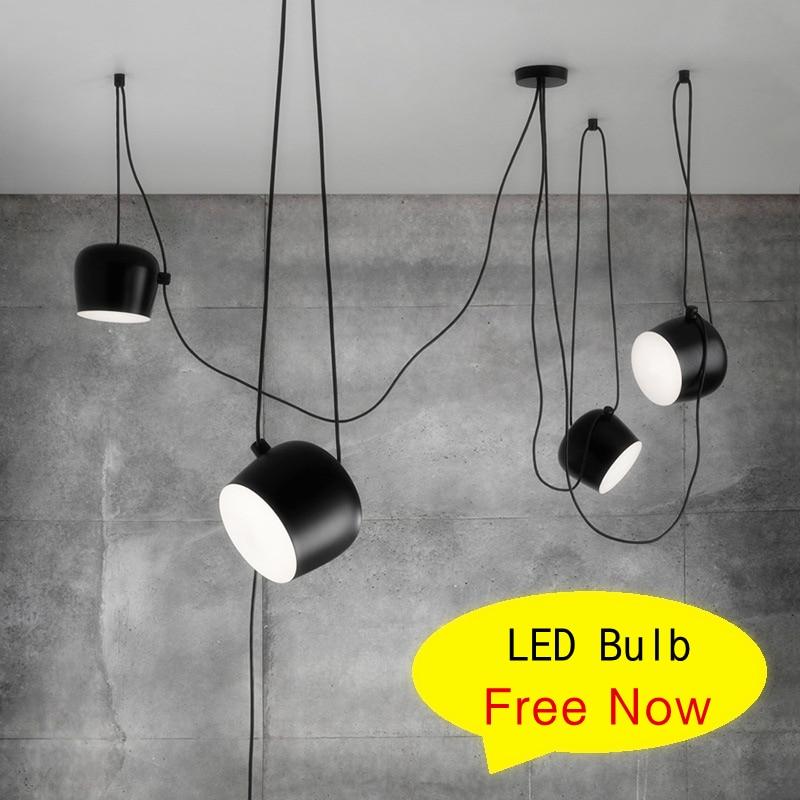 ФОТО Black/White Aluminum Lampshade Snare Drum Pendant Lamp 1/2/3/4/6 Heads Led Hanging Lights Indoor Office DIY Suspension Luminaire