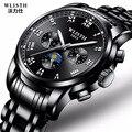 Марка wlisb  деловые  черные  модные кварцевые часы для мужчин  спортивные  водонепроницаемые  повседневные  полностью стальные  военные  наруч...