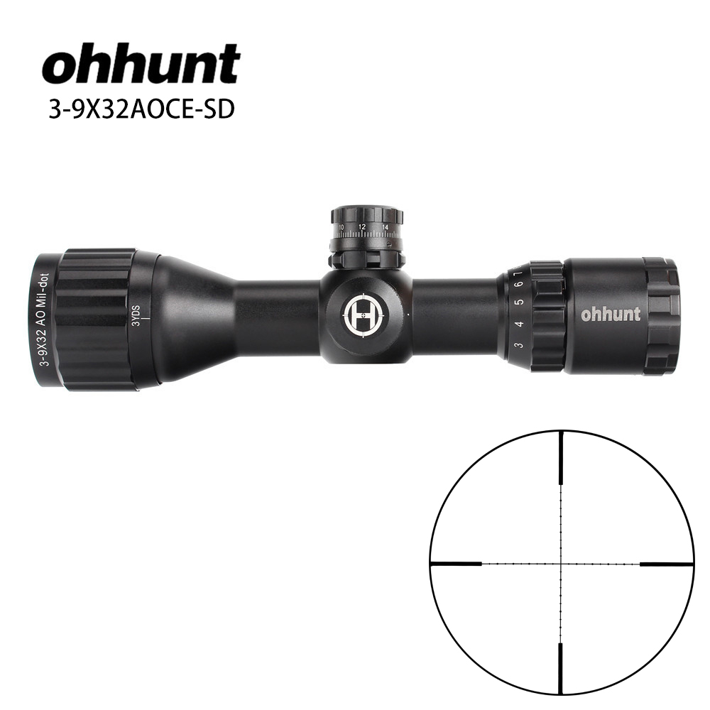 ohhunt Hunting Optics 3-9x32 AO Compact 1/2 Half Mil Dot Reticle Riflescopes Turrets Locking with Sun Shade Tactical Rifle Scope leapers utg 3 9x32 aolmq compact mil dot reticle hunting optics riflescopes locking w sun shade