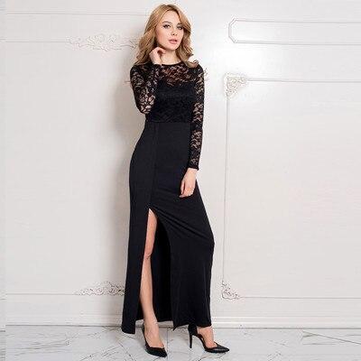 Ri70196 Wholesale And Retail Popular Black Lace Dress Long